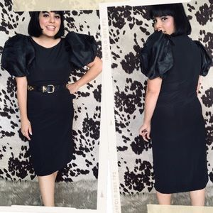 Vtg 80s Puffy Sleeves Bow Detail Wiggle Dress